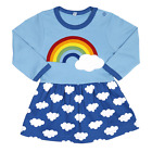 Toby Tiger Rainbow Cloud Dress 0-6 Years. 100% Organic Cotton! blue