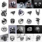 Kyпить Men's Fashion Steampunk Stainless Steel Jewelry Skull Vintage Silver&Black Rings на еВаy.соm