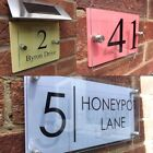 MODERN HOUSE SIGN PLAQUE DOOR NUMBER STREET GLASS ALUMINIUM / PASTEL EFFECT