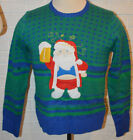 Men's Carbon Green Geo Drunk Santa L/S Pullover Ugly Christmas Sweater S, M