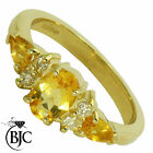 BJC® 9ct Yellow gold Citrine & Diamond size O engagement dress ring R178