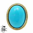 BJC® 9ct Yellow gold Large Turquoise Solitaire Oval Ring Size N engagement R164