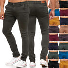Herren Chino Skinny Fit Jeans Slim Hose Tapered Leg Stretch Elasthan Farben Neu