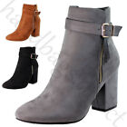 New Ankle Boots High Block Heel Buckle Side Zip Casual Womens Ladies Shoes Sizes