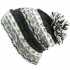 Hat Knit Fleece Band Brim Bobble Pom Wool Slouch New Beanie Knitted Winter