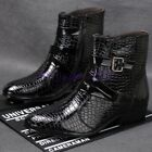 Mens Snakeshin Patent Leather Buckles Cuban Heels Zipper Mid Calf Boots Shoes sz