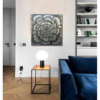 3D Silver Floral Oil Painting Handpainted On Canvas Elegant Wall Art With Glossy