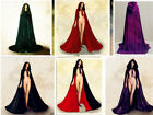 Gothic Hooded Velvet Cloak Gothic Wicca Robe Medieval Witchcraft Larp Cape A++