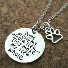 Paw Print Dog Tag Pendant Pet Lover Chain Necklace Silver Pld Love Heart Charm