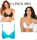 2 X NON WIRED PADDED BRA SET BLACK WHITE TURQUOISE 32 34 36 38 40 A B C
