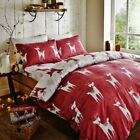 Catherine Lansfield Red Nordic Deer Flannelette 100% Brushed Cotton Bed In Bag