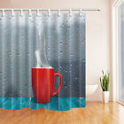 Hot water and red cups Shower Curtain Bathroom Decor Waterproof Fabric & 12Hooks