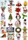 24 Mixed Christmas Large Sticky White Paper Stickers Labels NEW