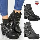 Ladies Womens Studded Ankle Boots Strappy Western Buckle Low Heel Shoes Size