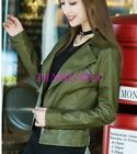 Motorcycle PU Leather Zipper Jacket Vogue Womens Short Turn-down Collar Tops