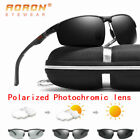 Men's Polarized Photochromic Sunglasses Chameleon Transition Lens Pilot Eyewear