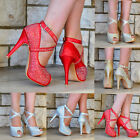 LADIES SPARKLY GLITTER DIAMANTE DETAIL HIGH HEEL PEEP TOE STRAPPY PARTY SHOES
