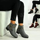 New Womens Ladies Rock Studs Buckle Zip Ankle Boots Faux Suede Shoes Size Uk 3-8