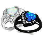 925 Silver Plated Ring Fire Blue Opal Heart Wedding Ring S925 Stamped Size 6789