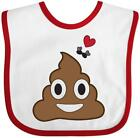 Inktastic Valentine's Day Love Poop Emoji And Flies Baby Bib Adult Brown Gift