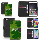 Black pu leather wallet case cover for most mobiles - lucky clover
