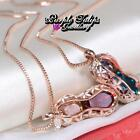 18CT Rose Gold Plated Funky Peaant pendant Necklace MadeWith Swarovski Crystals