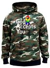 Men's God Accepts You Rainbow Ribbon Camo Hoodie Gay Pride Lesbian Equality V203