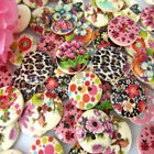"""100/200 5/8"""" Printed Flower 2-Holes Wooden Buttons Fit Sewing Craft 15mm buttons"""