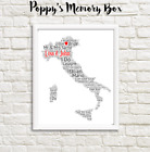 Italy Map Word Art Bespoke Engagement Wedding Anniversary Travel Print Gift