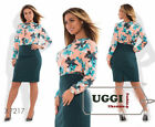 Business style Sheath Woman Dress Viscose and Suiting Long Sleeve- Plus size