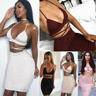 women club outfits - Women Backless Crop Top 2 Piece Set Bodycon Bandage Mini Dress Party Club Outfit