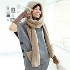 Women Ladies Scarf Earflap Hat Winter Warm With Pocket Fluffy Hood Fashion