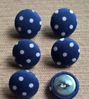 Blue & White Spotty/Spots/Dotty/Dots 30L/19mm Fabric Covered Buttons Craft