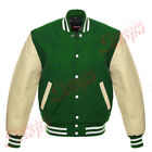 Original American Varsity Letterman College Baseball Green Wool/Leather Jacket