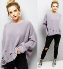 New Look Lilac Ladder Ripped Crew Neck Boxy Jumper Top in Lilac Sizes 6 to 16