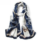 "100% Pure Mulberry Silk Women Large Long Scarf Shawl Grace Blue Red 69""X21"""