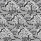 Makower - Into The Woods - Trees - Grey - Cotton Fabric Quilting Patchwork