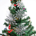 12/24/60pcs Glitter Snowflake Christmas Ornaments Xmas Tree Hanging Party Decor
