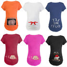 Внешний вид - Christmas Maternity Baby Peeking T-shirt Funny Gift Pregnant Women Top Pregnancy