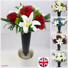Artificial flower Bunch With grave pot spike memorial Rose and lily ready bunch