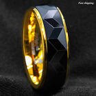 8Mm Black Rhombus high polished Tungsten ring 18k Gold wedding band men jewelry