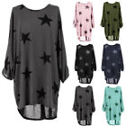 Womens Stars Printed Long Sleeve Irregular Tunic Tops Casual Baggy Blouse Dress