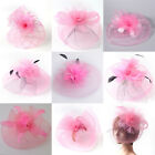Pink Lady Handmade Fascinator Feather Flowers Hair Clip Cocktail Party Accessory