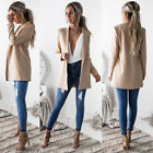 US Fashion Women's Long Sleeve Cardigan Casual Blazer Suit Jacket Coat Outwear