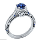 Womens Ladies 925 Sterling Silver Blue Sapphire Gemstone Party Dress Ring Size N