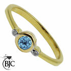 BJC® 9ct Yellow gold Blue Topaz & Diamond Trilogy size O engagement ring R205