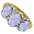 BJC® 9ct Yellow Gold Opal & Diamond Cluster Trilogy Ring 2.00ct  Ring Size L - U
