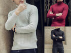 Men's Winter Warmer Cotton High Collar Thick Solid Color Knitted Slim Sweater