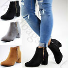 New Ankle Boots High Block Heel Zip Comfy Casual Womens Ladies Shoes Sizes 3-8