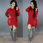 Womens Oversize Long Sleeve Sweater Baggy Jumper Mni Dress Long Tops Knitwear